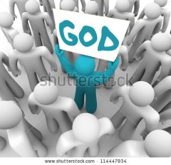 stands-out-in-a-crowd-holding-a-sign-with-the-word-god-on-it-spreading-the-holy-114447934